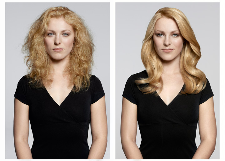 Результат процедуры кератинового лечения и разглаживания волос